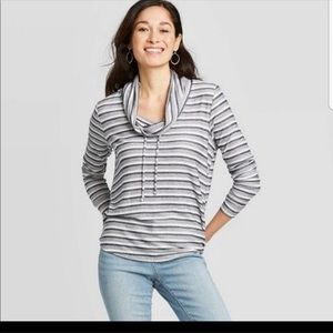Knox Rose Cowl Neck striped Pullover Sweater XS